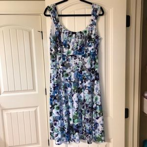 Floral 👗, done in blues greens and purples